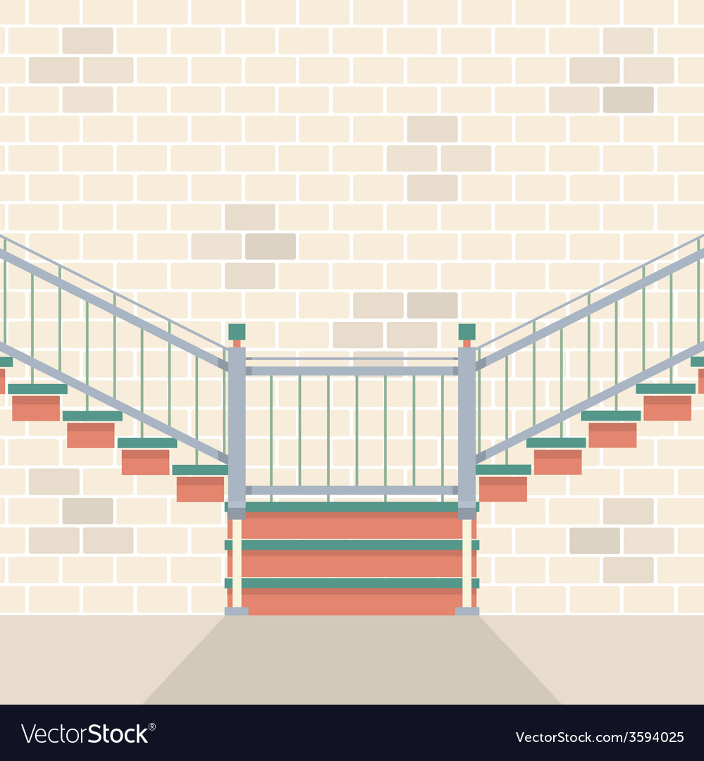 Interior bricks wall with stairs vector | Price: 1 Credit (USD $1)