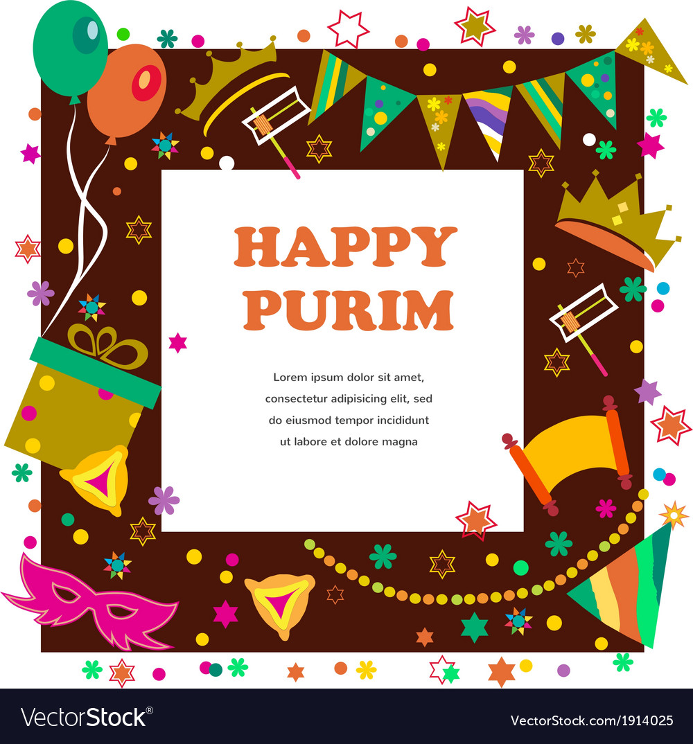 Jewish holiday purim set of elements for design vector | Price: 1 Credit (USD $1)