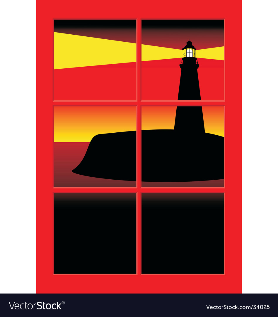 Lighthouse at sunset vector | Price: 1 Credit (USD $1)