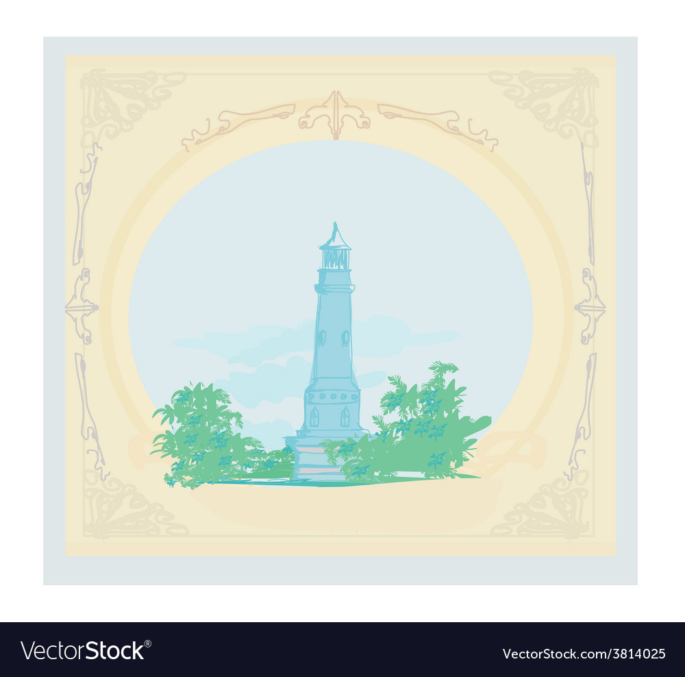 Lighthouse seen from a tiny beach - vintage poster vector | Price: 1 Credit (USD $1)