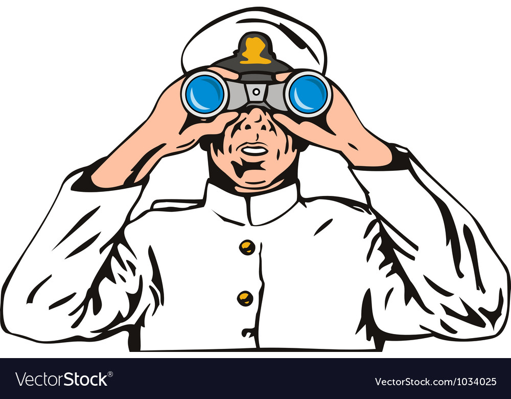 Navy captain sailor with binoculars vector | Price: 1 Credit (USD $1)