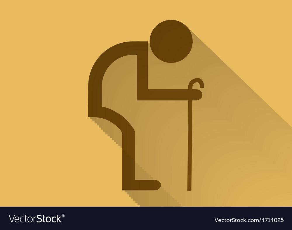 Old man symbol flat long shadow vector