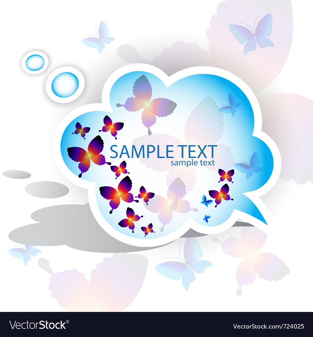 Paper speech bubble butterfly design vector | Price: 1 Credit (USD $1)
