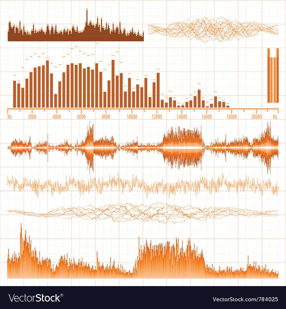 Sound waves set vector | Price: 1 Credit (USD $1)