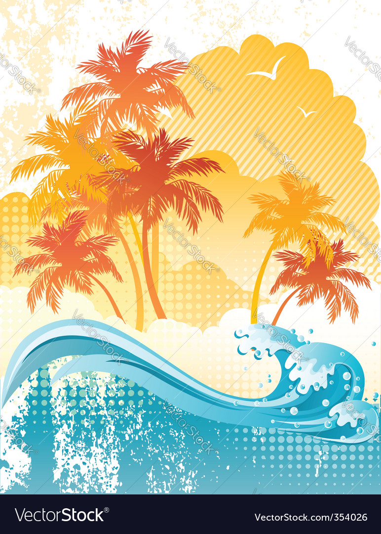 Beach poster vector | Price: 3 Credit (USD $3)