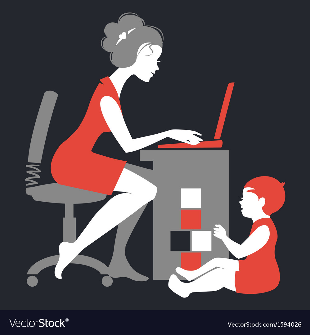 Beautiful silhouette of mother freelancer vector | Price: 1 Credit (USD $1)