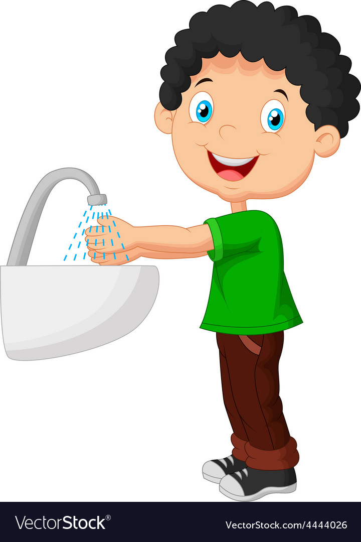 Boy washing his hands on a white background vector   Price: 1 Credit (USD $1)