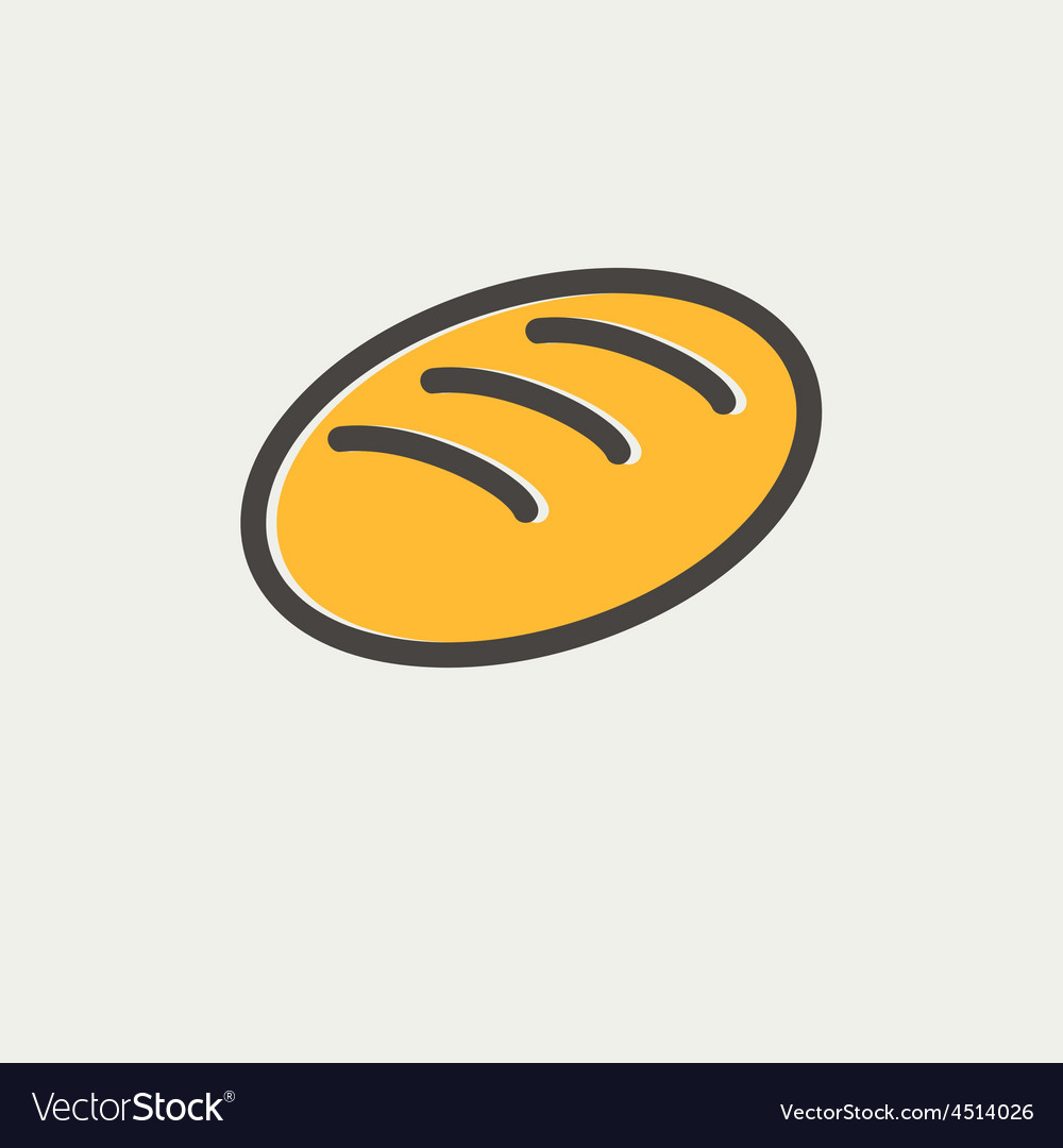 Bread thin line icon vector | Price: 1 Credit (USD $1)
