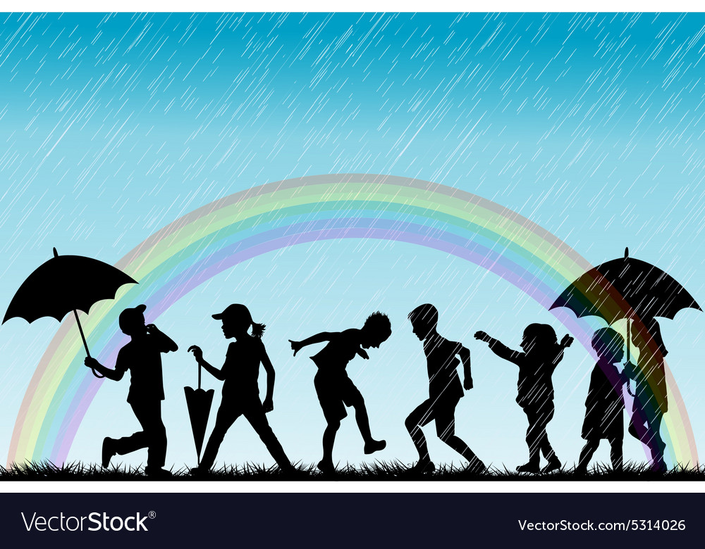 Children silhouettes enjoy the rain vector
