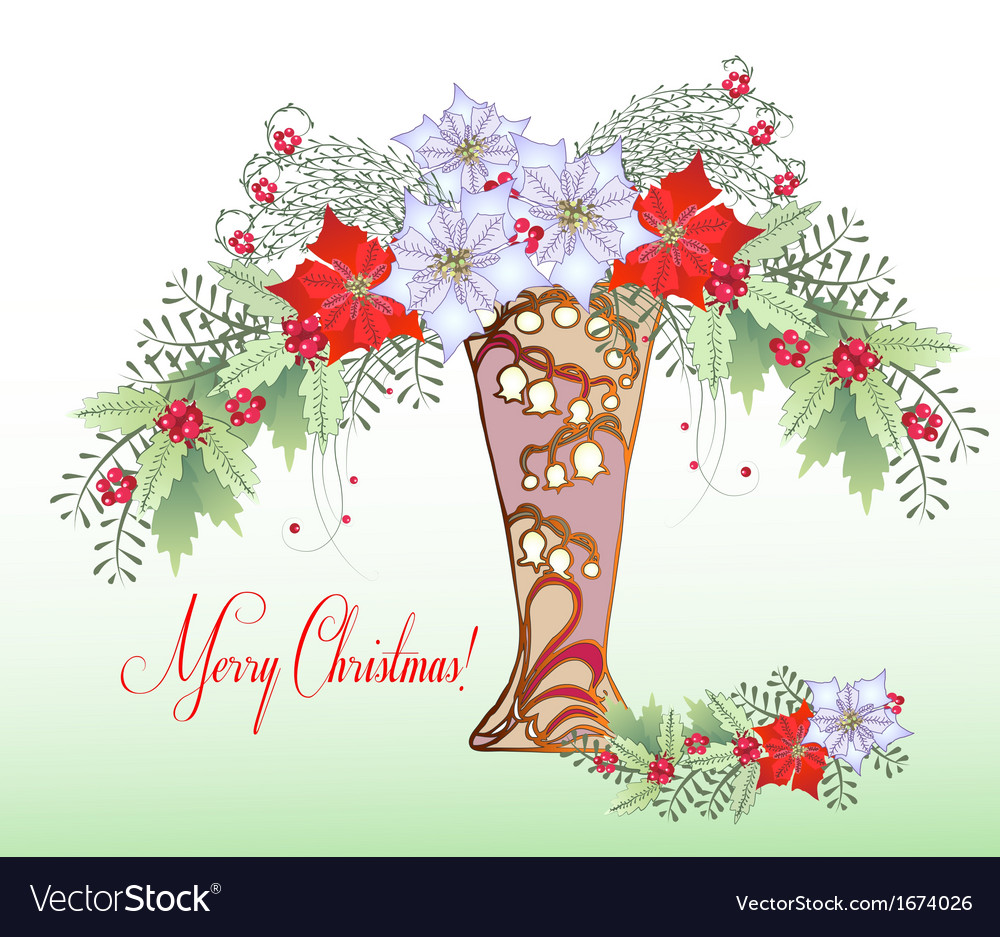 Christmas card with vase and bouquet vector | Price: 1 Credit (USD $1)
