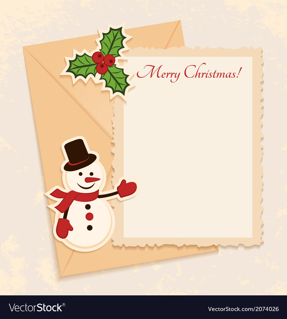 Congratulation gold retro background with snowman vector | Price: 1 Credit (USD $1)