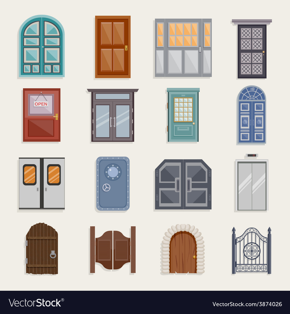 Door icons flat vector | Price: 1 Credit (USD $1)