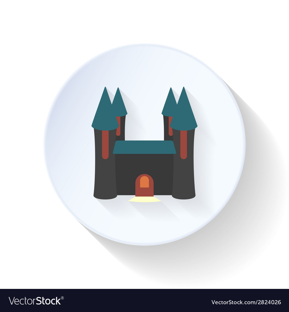 Halloween castle ghosts flat icon vector | Price: 1 Credit (USD $1)