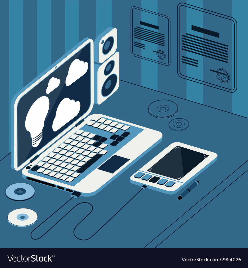 Laptop with tablet and columns on table vector | Price: 1 Credit (USD $1)