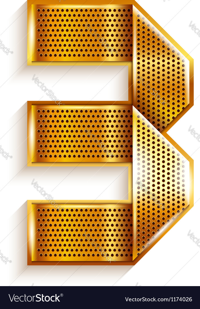 Number metal gold ribbon - 3 - three vector | Price: 1 Credit (USD $1)