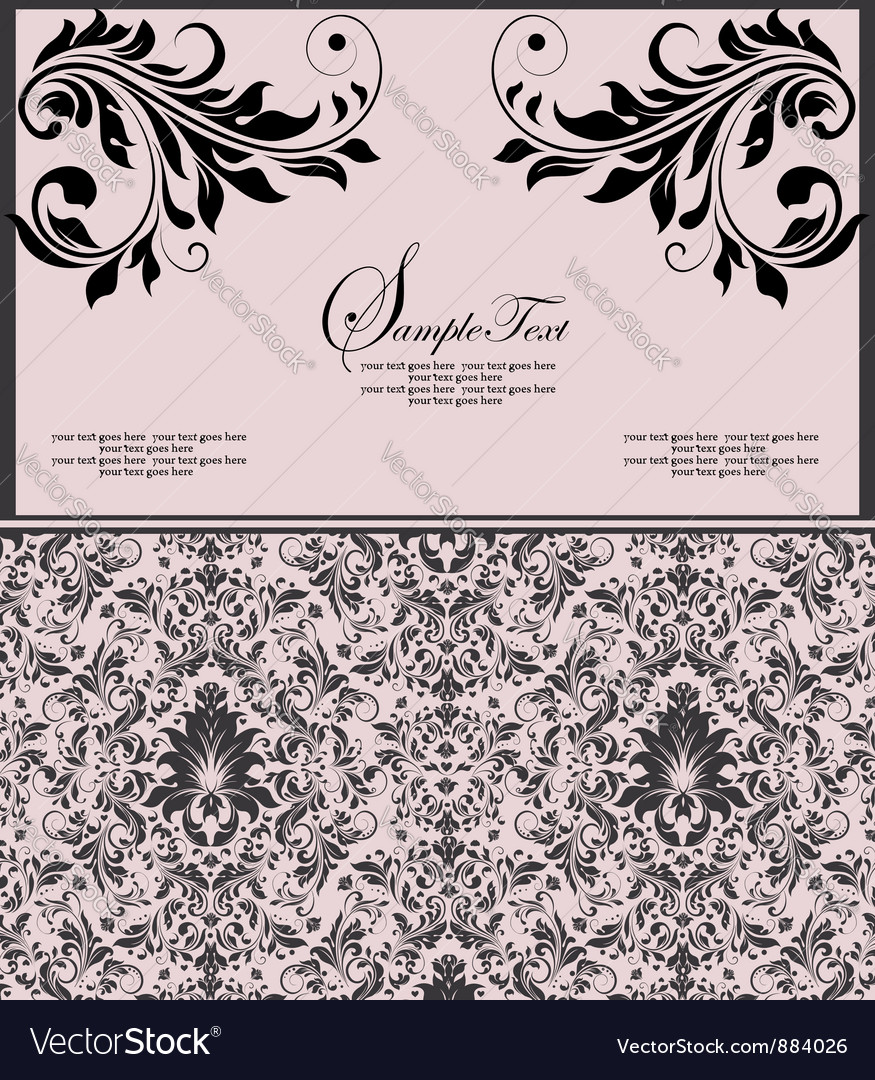 Pink and black invitation floral card vector | Price: 1 Credit (USD $1)