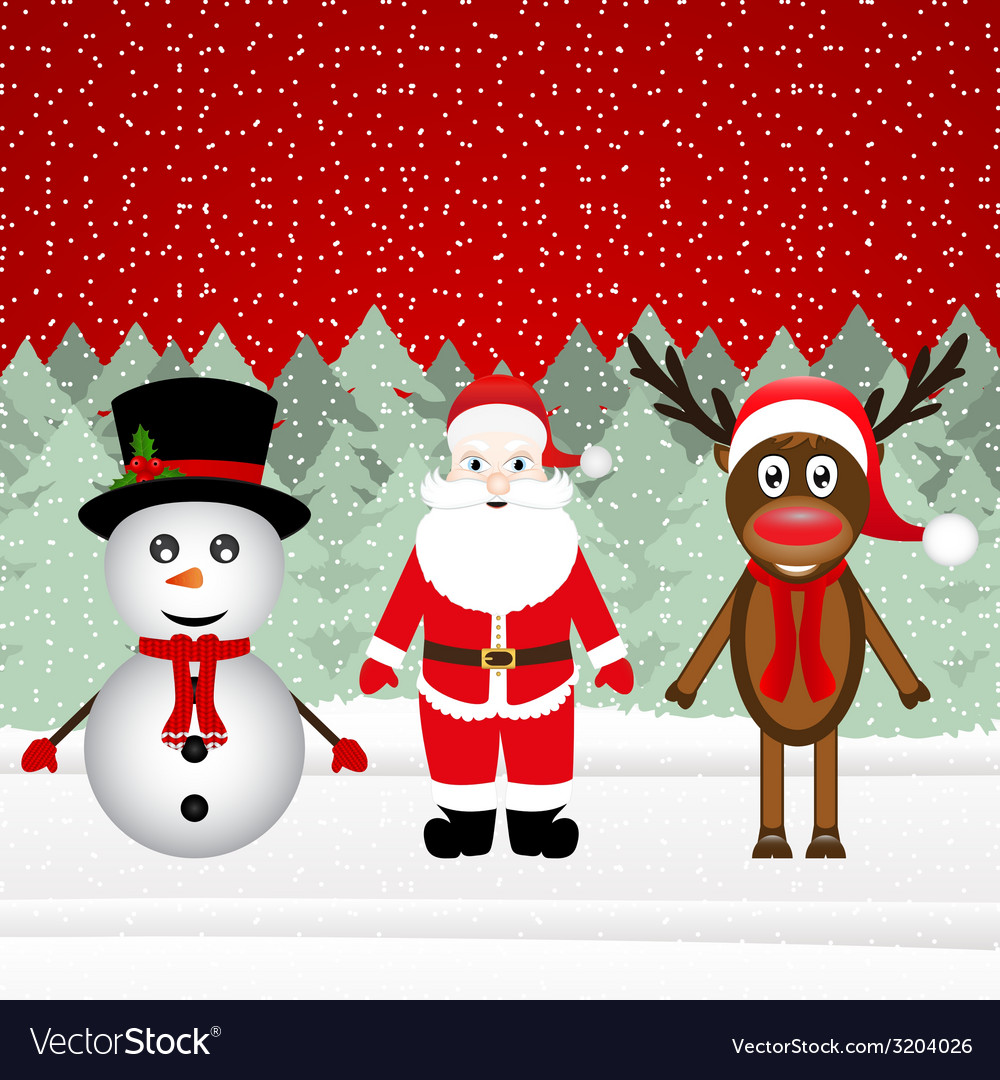 Santa claus a reindeer and a snowman vector | Price: 1 Credit (USD $1)