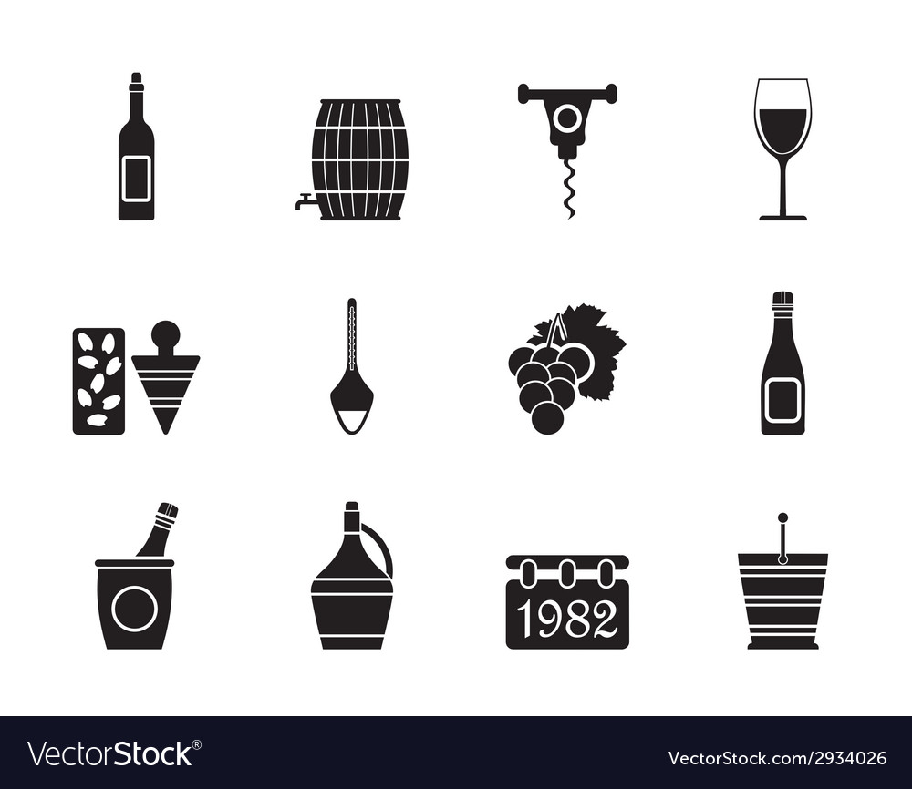 Silhouette wine icons vector | Price: 1 Credit (USD $1)