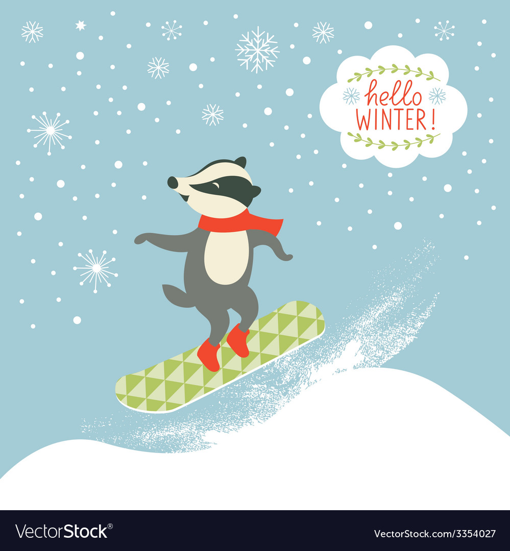 Badger is snowboarder vector | Price: 1 Credit (USD $1)