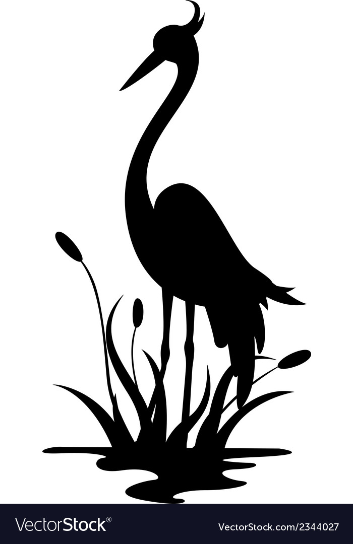 Beauty heron silhouette vector | Price: 1 Credit (USD $1)