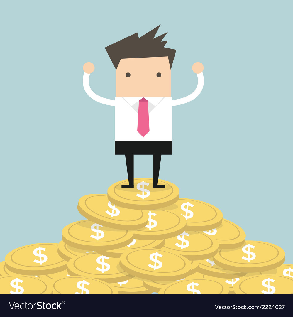 Businessman standing on gold coin vector | Price: 1 Credit (USD $1)