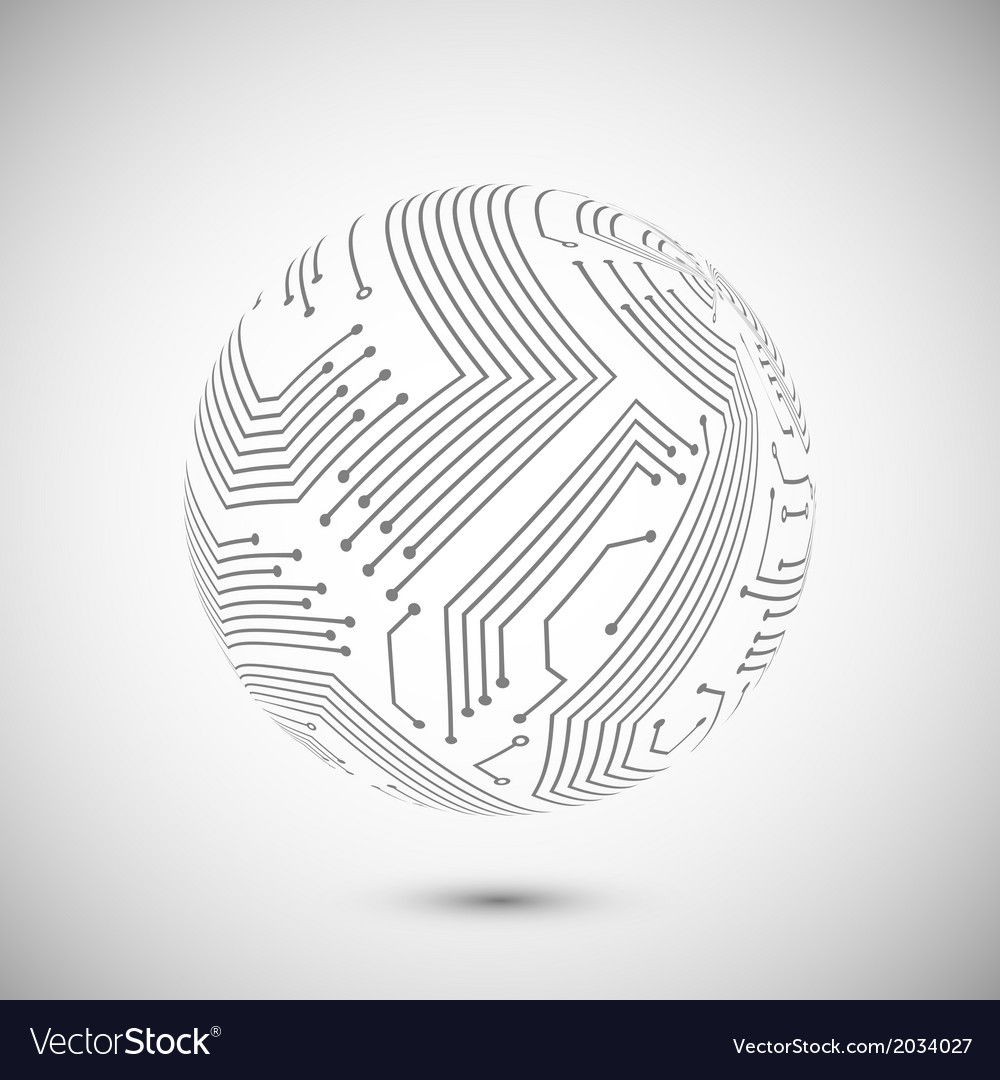 Circuit board globe emblem vector