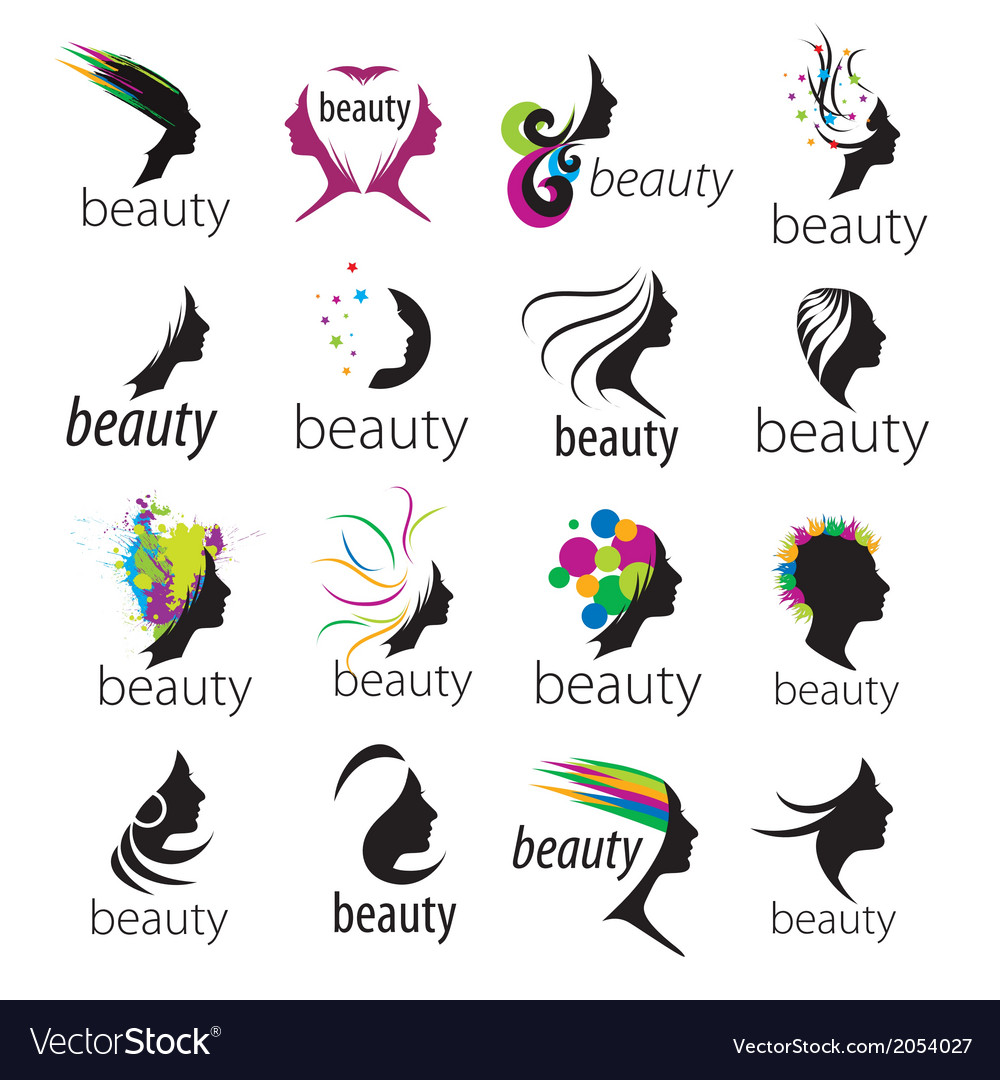 Collection of logos beautiful female face vector | Price: 1 Credit (USD $1)