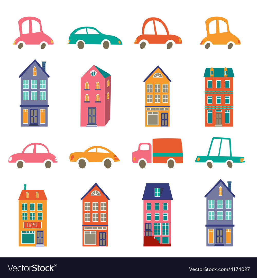 Cute city collection with houses and cars vector   Price: 1 Credit (USD $1)