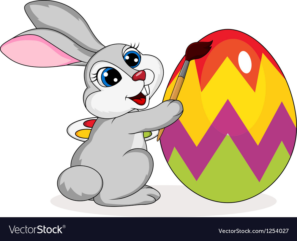 Cute rabbit painting an easter egg vector | Price: 1 Credit (USD $1)