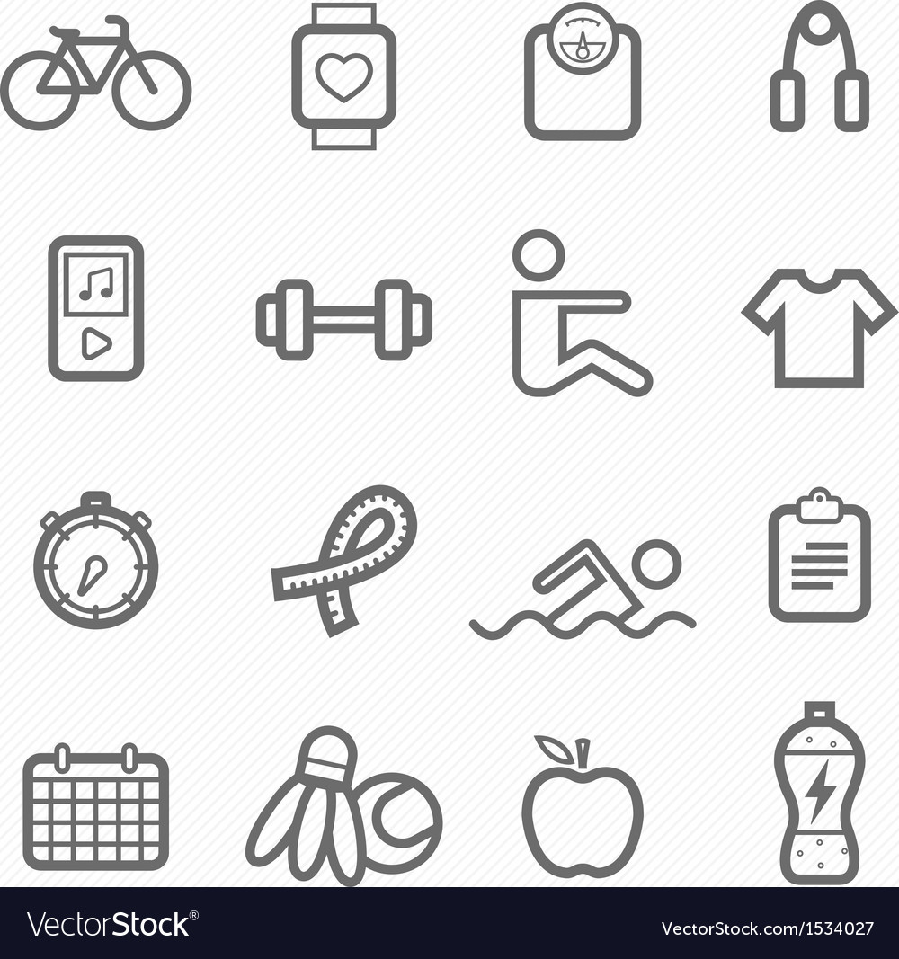 Exercise symbol line icon set vector | Price: 1 Credit (USD $1)
