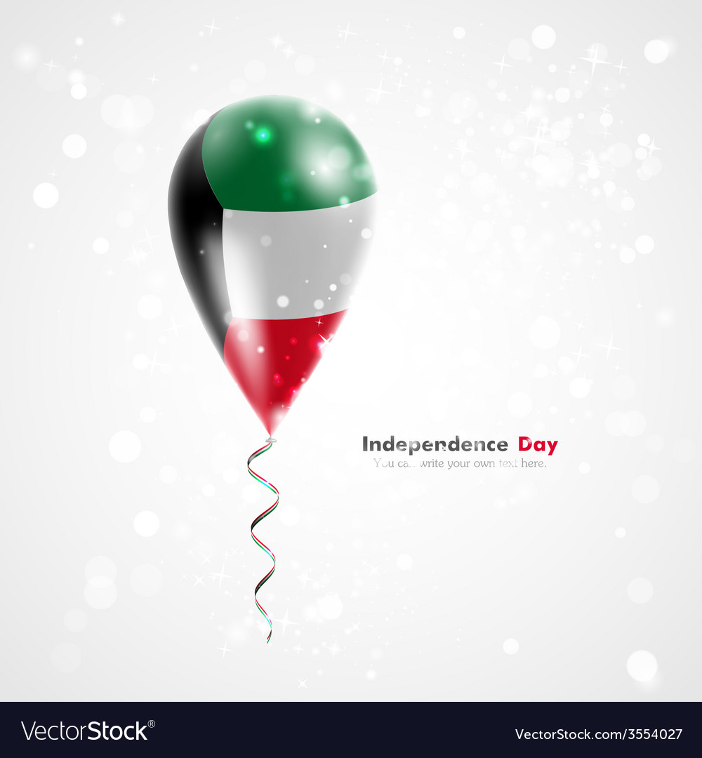 Flag of kuwait on balloon vector | Price: 1 Credit (USD $1)