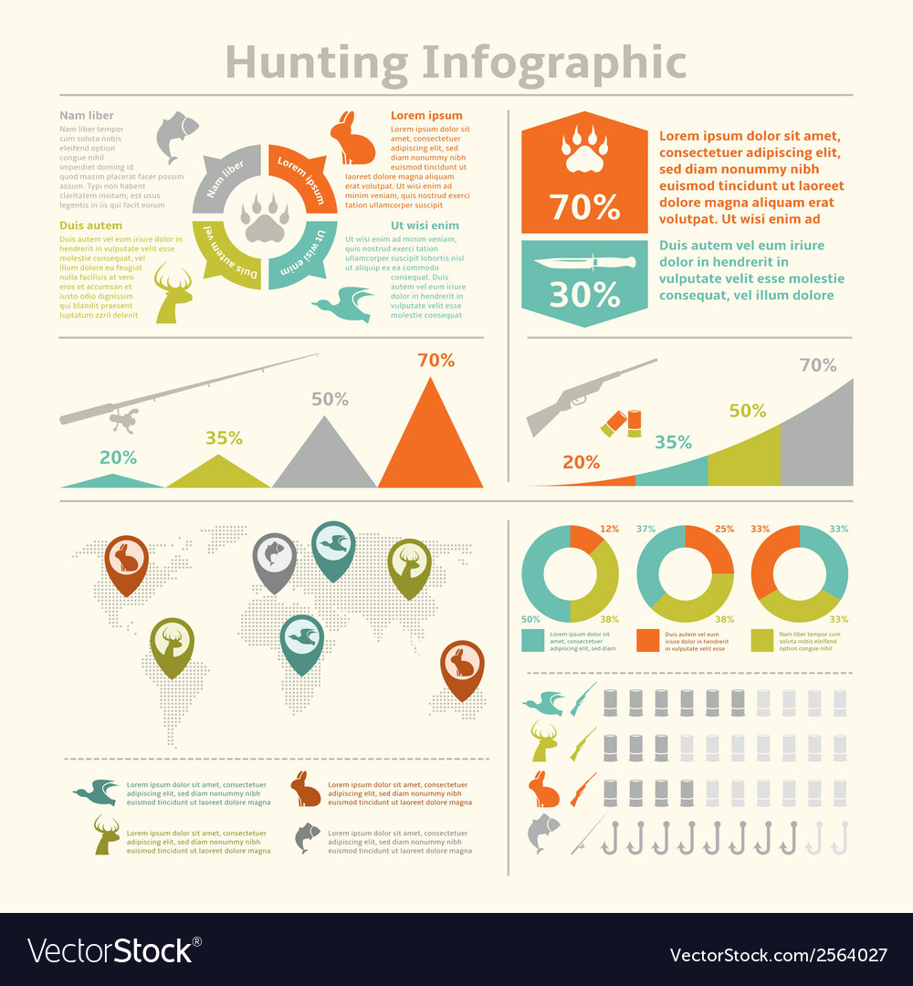 Hunting infographics vector | Price: 1 Credit (USD $1)