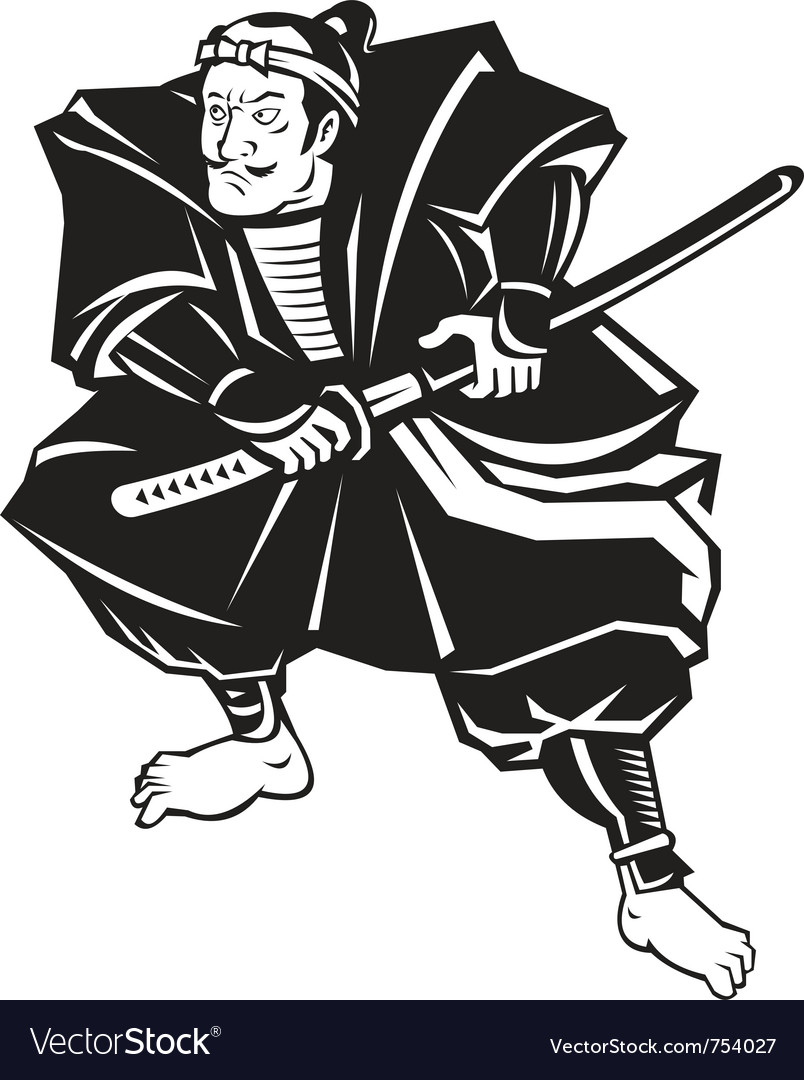 Japanese samurai warrior sword vector | Price: 1 Credit (USD $1)