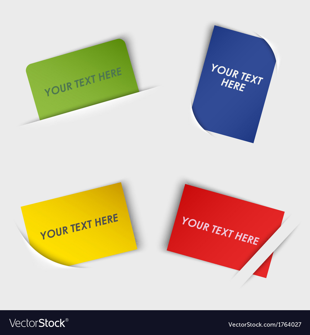 Set of colorful rectangular labels in your pocket vector | Price: 1 Credit (USD $1)