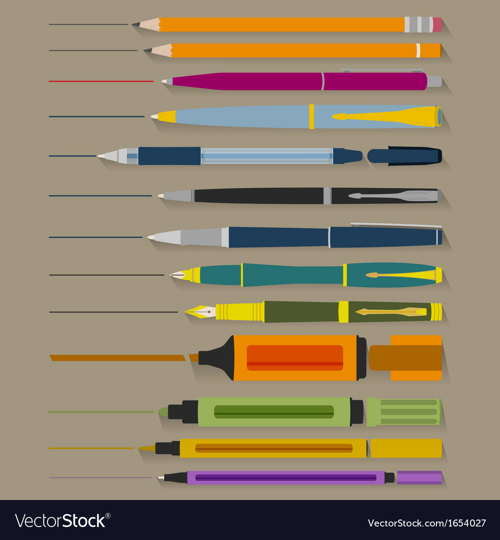 Set of pencils pens and markers vector | Price: 1 Credit (USD $1)
