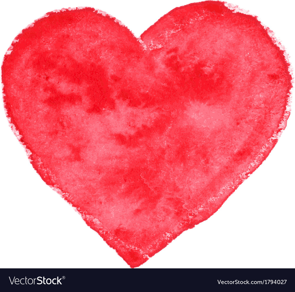 Watercolor red heart vector   Price: 1 Credit (USD $1)