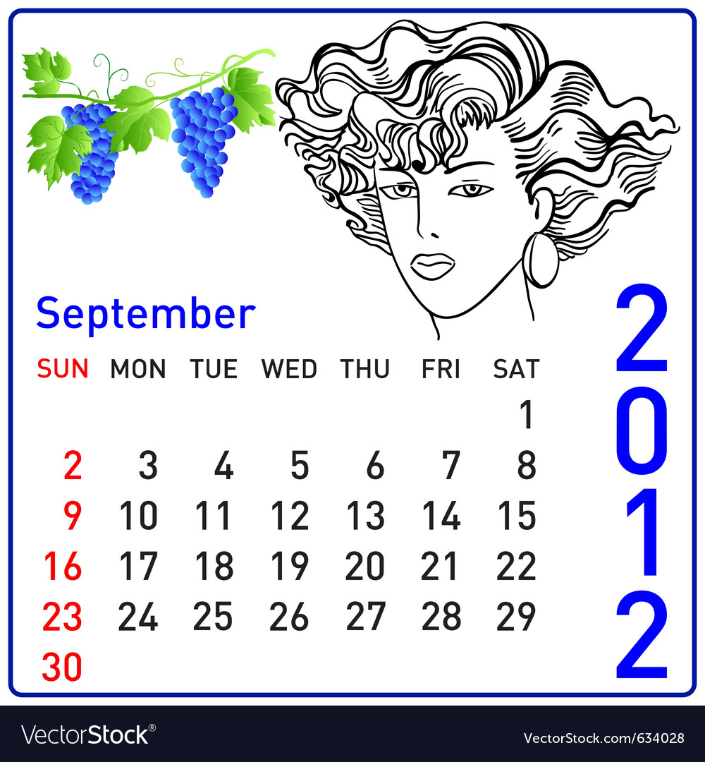 2012 year calendar in september vector | Price: 1 Credit (USD $1)