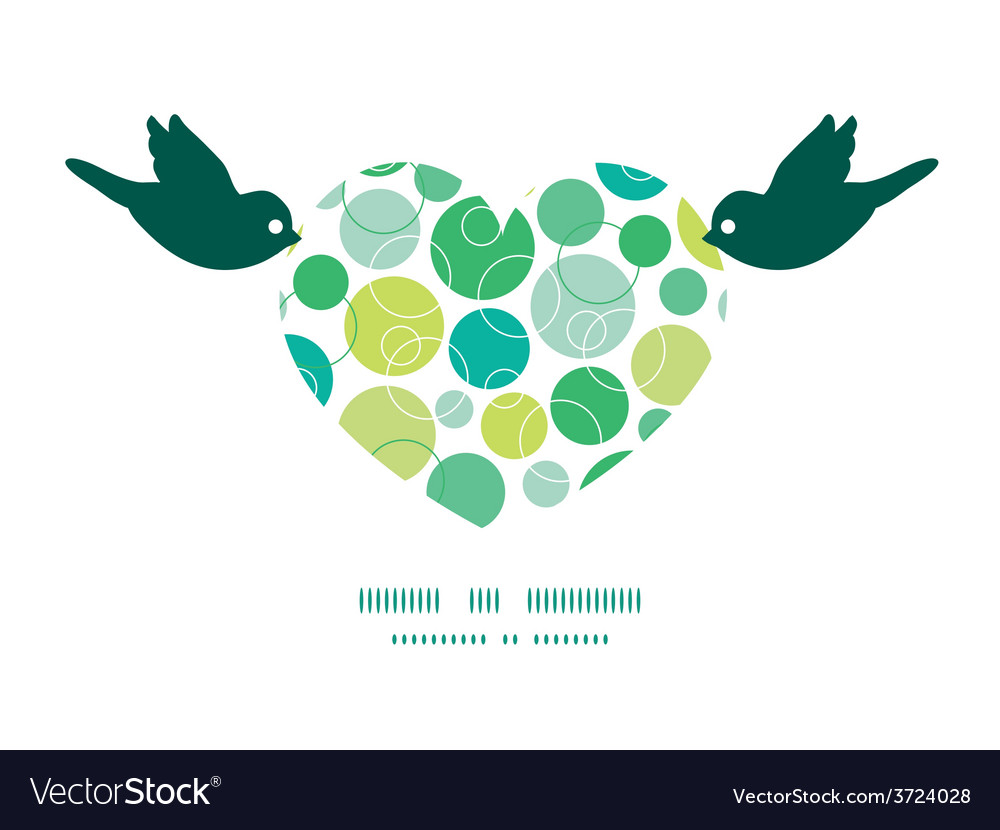 Abstract green circles birds holding heart vector | Price: 1 Credit (USD $1)