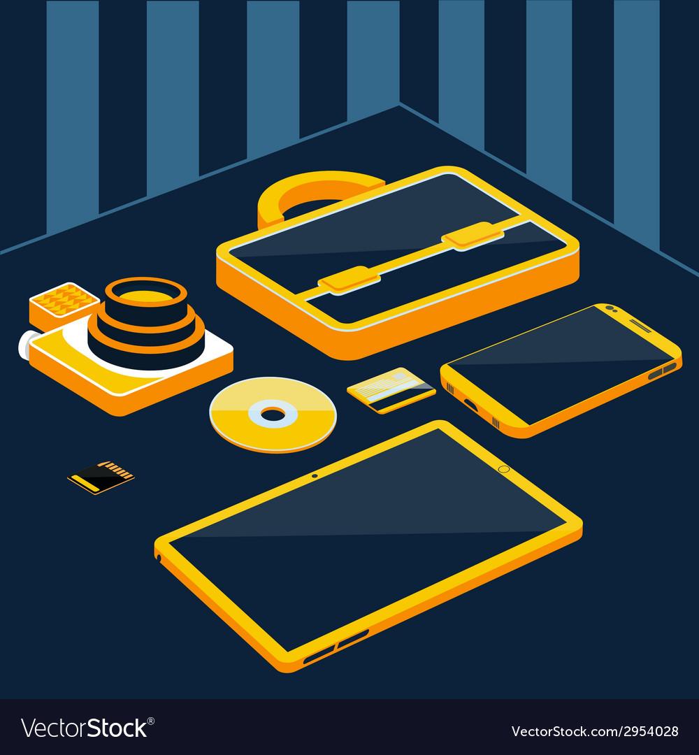 Briefcase camera smartphone tablet sd memory card vector   Price: 1 Credit (USD $1)