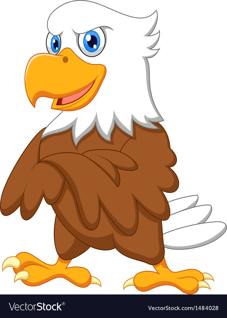 Cute eagle cartoon posing vector | Price: 1 Credit (USD $1)