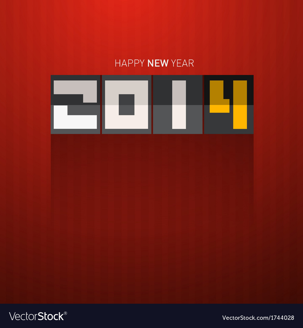 Happy new year 2014 tile on dark red background vector | Price: 1 Credit (USD $1)