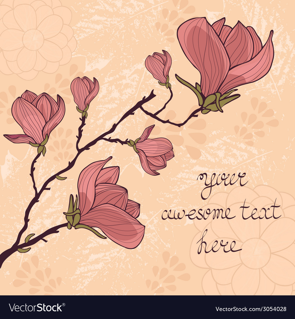 Magnolia flower card with sample text vector | Price: 1 Credit (USD $1)