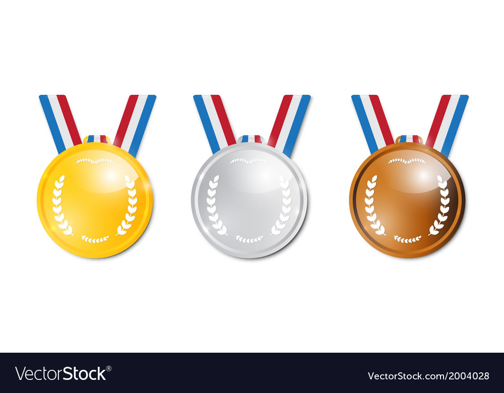 Medals gold silver bronze first second third vector | Price: 1 Credit (USD $1)