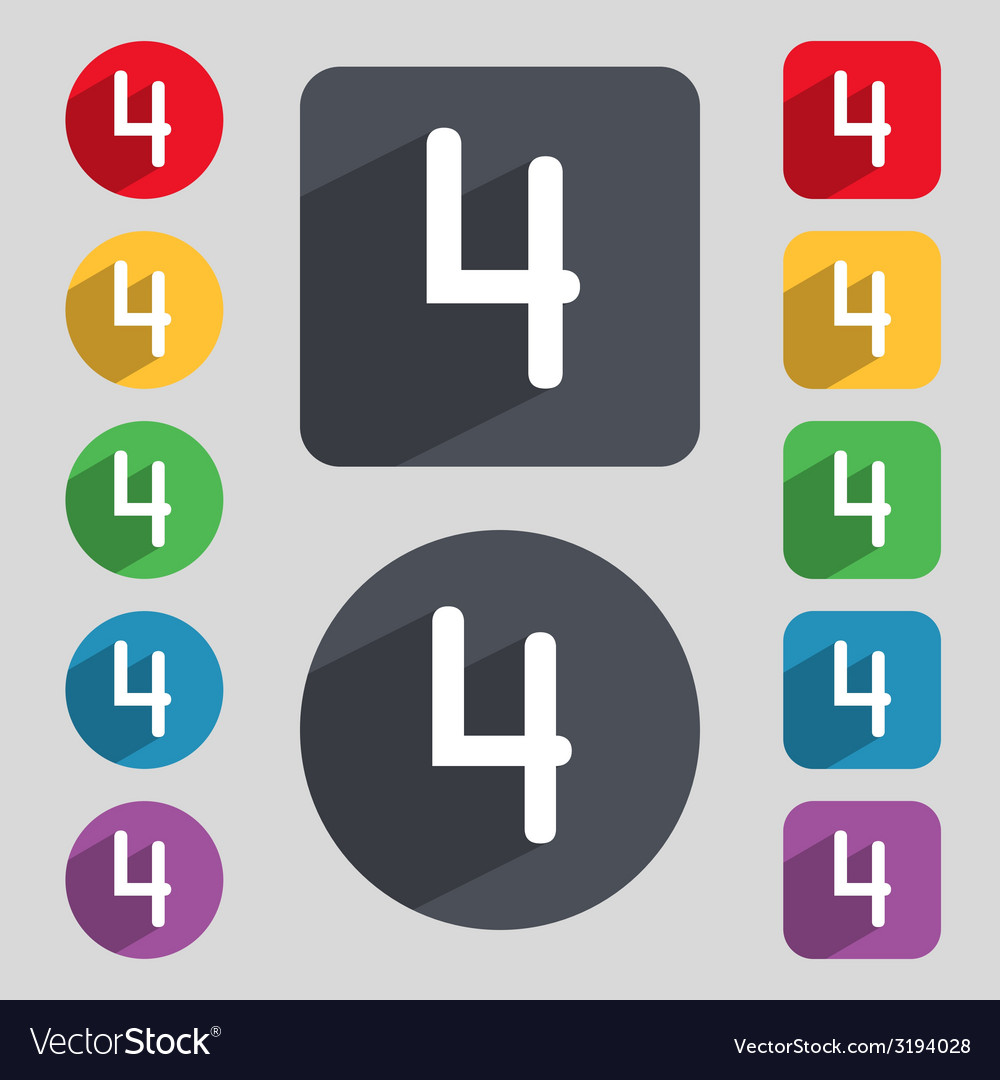 Number four icon sign set of coloured buttons vector | Price: 1 Credit (USD $1)