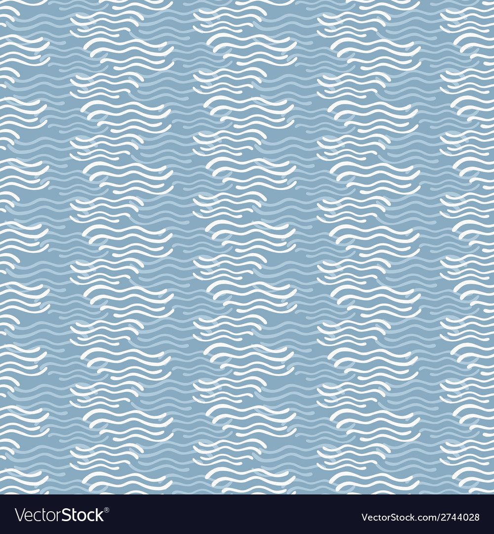 Seamless pattern with hand drawn decorative wavy vector | Price: 1 Credit (USD $1)