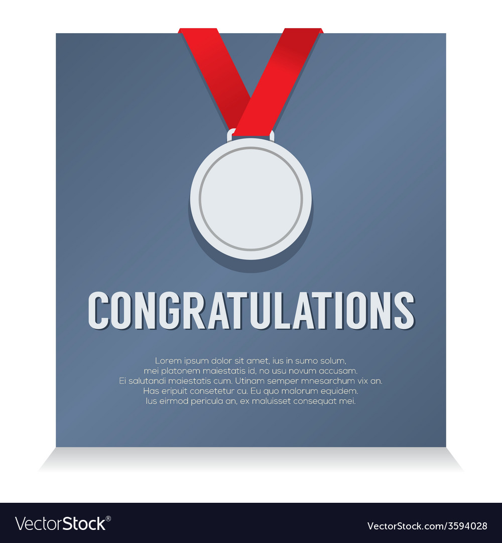 Silver medal with congratulations card vector   Price: 1 Credit (USD $1)