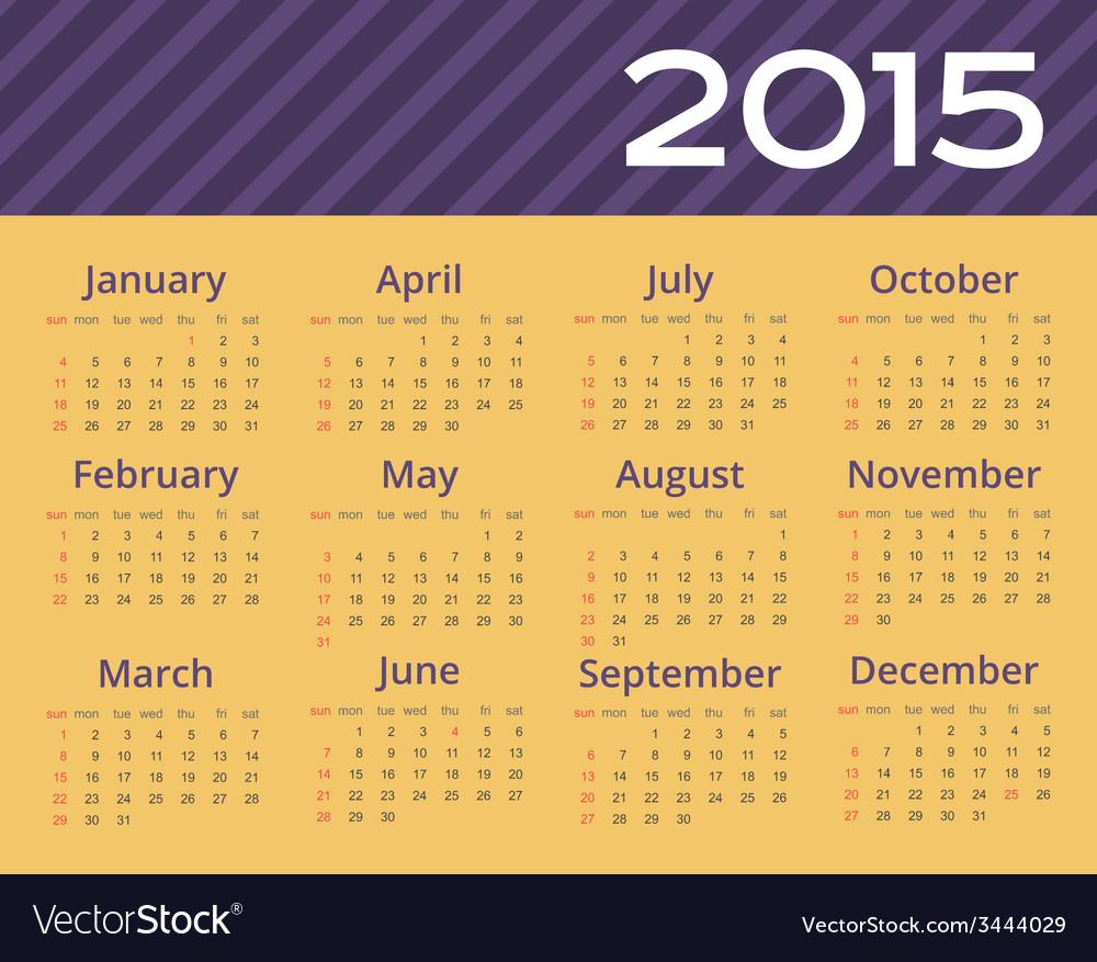 2015 year calendar editable vector | Price: 1 Credit (USD $1)
