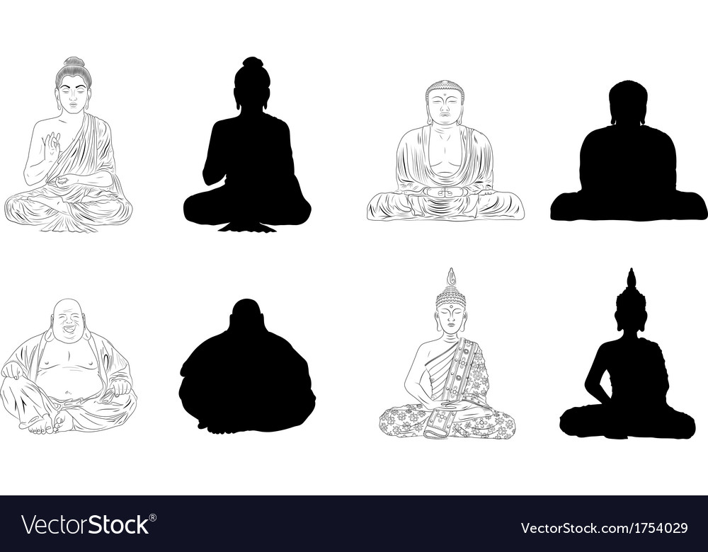 Buddha black outline silhouettes vector | Price: 1 Credit (USD $1)