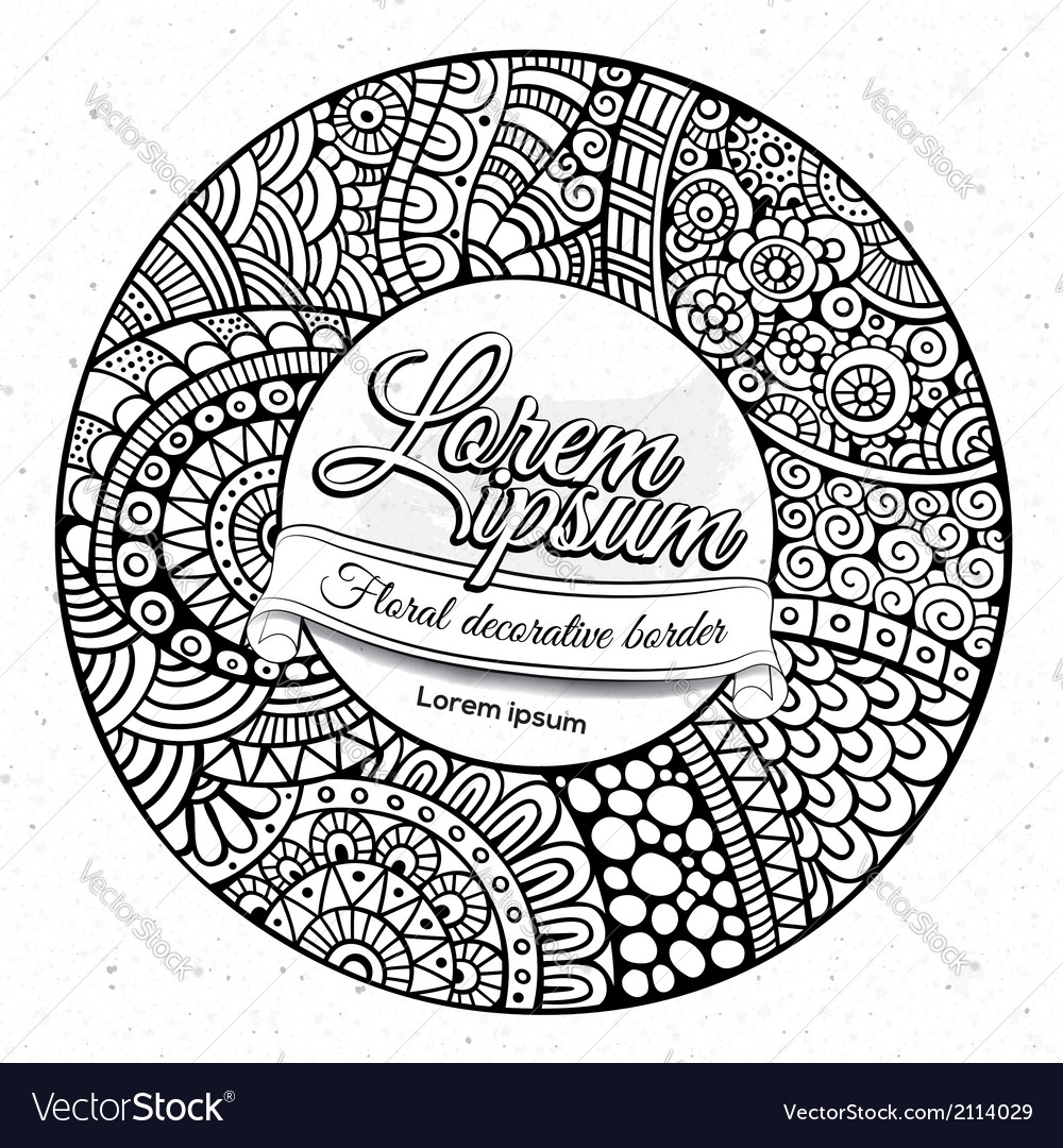 Decorative hand drawn circle frame vector | Price: 1 Credit (USD $1)