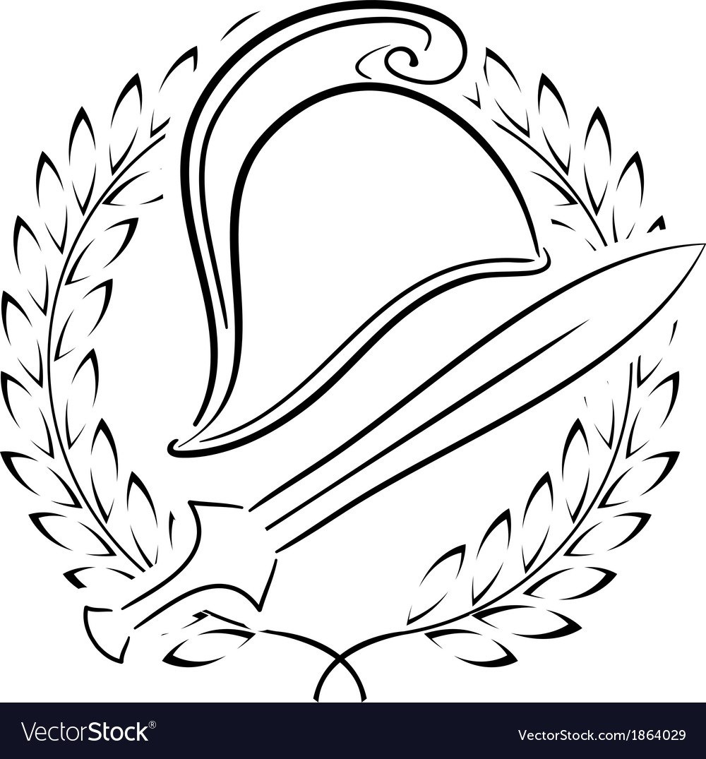 Macedonian phrygian helmet with laurel wreath vector | Price: 1 Credit (USD $1)